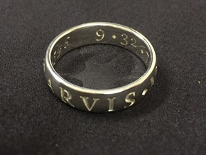 Size 10 Sir Francis Drake, Sic Parvis Magna Ring  in Fine Detail Polished Silver
