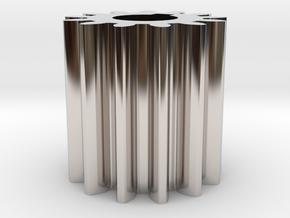 Cylindrical gear Mn=1 Z=13 AP20° Beta0° b=15 HoleØ in Rhodium Plated Brass
