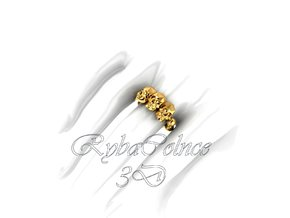 Ring The Skull / size 10GK 5US ( 16.1 mm) in 14k Gold Plated Brass