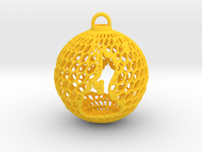 3D Printed Block Island Ball Ornament 2 in Yellow Strong & Flexible Polished