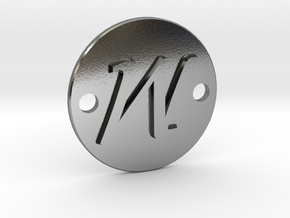 M pendant in Polished Silver