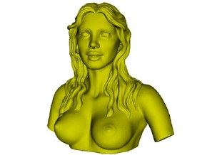 1/9 scale sexy topless girl bust A in Smooth Fine Detail Plastic