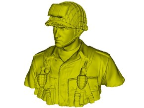 1/9 scale D-Day US Army 101 Airborne soldier bust in Smooth Fine Detail Plastic