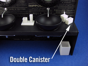 Bath Double Canister 1:12 scale in White Strong & Flexible Polished