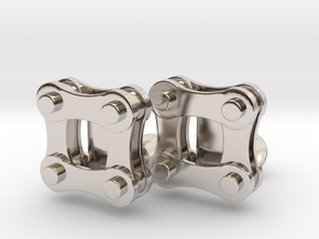 Bike Chain Cufflinks in Rhodium Plated Brass