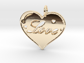 i 4 Love Pendant in 14K Yellow Gold