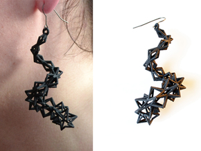 Earrings Helix in Black Natural Versatile Plastic