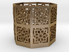Tall Islamic Star Knot Lantern in Polished Gold Steel: Small