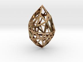 Geometric pendant 'Rough Diamond' (small) in Polished Brass