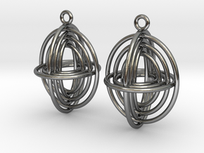 Concentric Borromean -- Precious Metal Earrings in Polished Silver