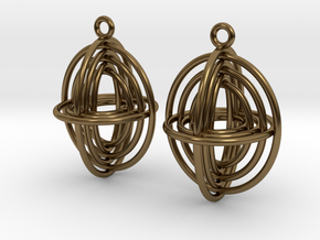 Concentric Borromean -- Precious Metal Earrings in Polished Bronze