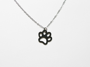 Paw Print Pendant - Small in Black Natural Versatile Plastic