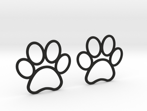 Paw Print Earrings - Large in Black Natural Versatile Plastic