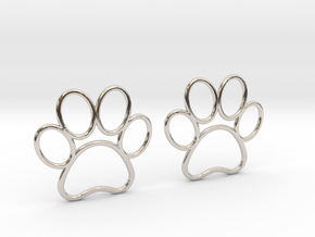 Paw Print Earrings - Large in Rhodium Plated Brass