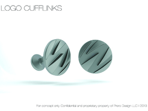 Custom Logo Cufflinks in Polished Bronzed Silver Steel
