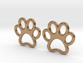 Paw Print Earrings - Small in Polished Brass