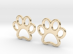 Paw Print Earrings - Small in 14K Yellow Gold