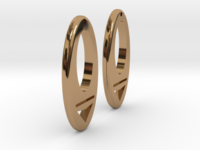 Earring Model I Pair in Polished Brass