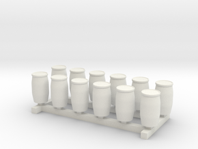 N Scale Blue Barrels 12pc in White Natural Versatile Plastic