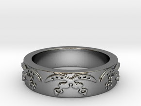 Akofena (courage) Ring Size 7 in Fine Detail Polished Silver
