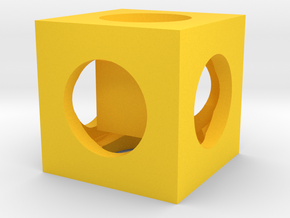 Cube In Cube  in Yellow Processed Versatile Plastic