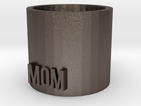 Mom Mug in Polished Bronzed Silver Steel