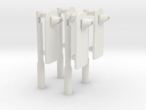 [4st] Voorwaarschuwingspalen (VWS) 1:87 (H0) in White Natural Versatile Plastic