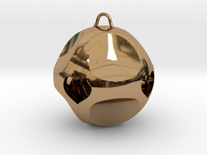 Ornament for Lovers with Hearts inside (large) in Polished Brass