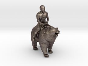 Putin On Bear  in Polished Bronzed Silver Steel