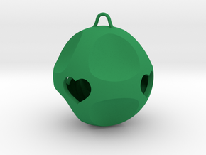 Ornament for Lovers with Hearts inside (large) in Green Processed Versatile Plastic