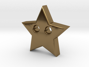 Star Pendant (2 Holes) in Polished Bronze