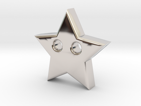 Star Pendant (2 Holes) in Rhodium Plated Brass