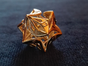 Curlicue 20-Sided Dice in Raw Brass
