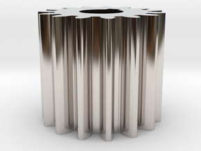Cylindrical gear Mn=1 Z=15 AP20° Beta0° b=15 HoleØ in Rhodium Plated Brass
