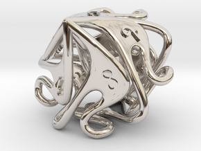 Curlicue 10-Sided Dice (alternate) in Rhodium Plated Brass