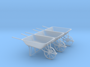 Wheelbarrow Set of 3 in Smooth Fine Detail Plastic: 1:24