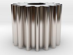 Cylindrical gear Mn=1 Z=17 AP20° Beta0° b=15 HoleØ in Rhodium Plated Brass