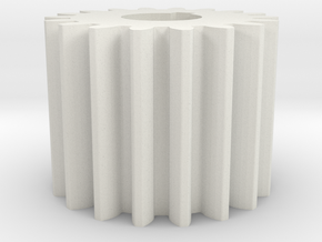 Cylindrical gear Mn=1 Z=18 AP20° Beta0° b=15 HoleØ in White Natural Versatile Plastic