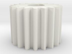 Cylindrical gear Mn=1 Z=19 AP20° Beta0° b=15 HoleØ in White Strong & Flexible
