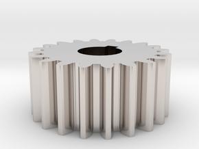 Cylindrical gear Mn=1 Z=20 AP20° Beta0° b=10 HoleØ in Rhodium Plated Brass