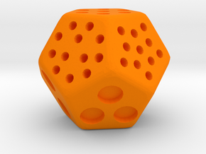 Classic Minimal D12 Dice in Orange Strong & Flexible Polished