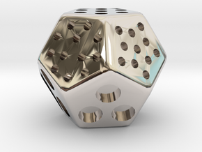 Classic Minimal D12 Dice in Rhodium Plated Brass