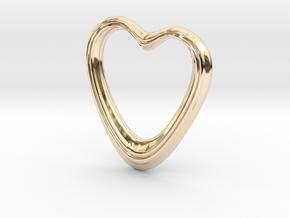 Oblong Heart Pendant in 14K Yellow Gold