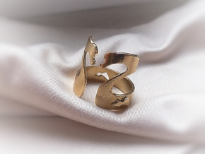 Swans Lovers Ring in Natural Brass: Extra Small