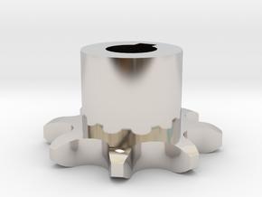 Sprocket gear ISO 04B-1 P6x2,8 Z8 in Rhodium Plated Brass