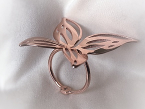 Butterfly Ring in 14k Rose Gold Plated Brass: Extra Small