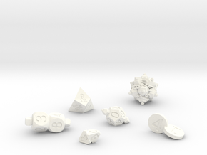 Merged Dice in White Processed Versatile Plastic: Polyhedral Set