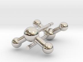 Water Molecule Stud Earrings in Rhodium Plated Brass
