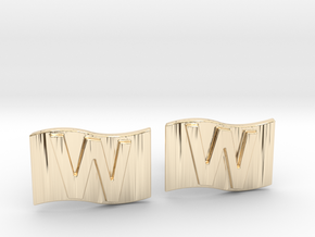 Chicago Cubs W Flag Cufflinks in 14K Yellow Gold