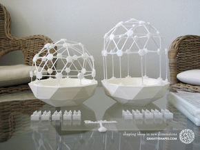 Mini Greenhouse-Dome Set #1 - short (clickable) in White Strong & Flexible Polished